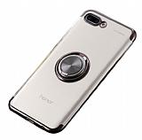 Eiroo Clear Ring Huawei Y6 2018 Siyah Kenarlı Silikon Kılıf