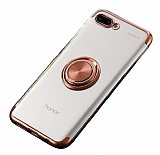 Eiroo Clear Ring Huawei Y6 2018 Rose Gold Kenarlı Silikon Kılıf