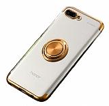 Eiroo Clear Ring Huawei Y6 2018 Gold Kenarlı Silikon Kılıf