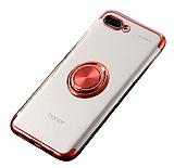 Eiroo Clear Ring Huawei Y6 2018 Kırmızı Kenarlı Silikon Kılıf