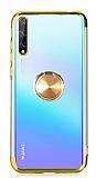 Eiroo Clear Ring Huawei Y8p Gold Kenarlı Silikon Kılıf
