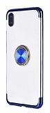 Eiroo Clear Ring Samsung Galaxy A01 Lacivert Kenarlı Silikon Kılıf