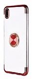 Eiroo Clear Ring Samsung Galaxy A01 Kırmızı Kenarlı Silikon Kılıf