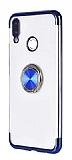 Eiroo Clear Ring Samsung Galaxy A70 Lacivert Kenarlı Silikon Kılıf