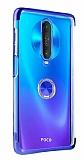 Eiroo Clear Ring Xiaomi Poco X2 Mavi Kenarlı Silikon Kılıf