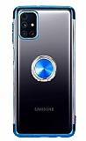 Eiroo Clear Ring Samsung Galaxy M31s Mavi Kenarlı Silikon Kılıf