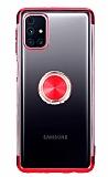 Eiroo Clear Ring Samsung Galaxy M31s Kırmızı Kenarlı Silikon Kılıf