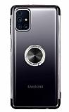 Eiroo Clear Ring Samsung Galaxy M31s Siyah Kenarlı Silikon Kılıf