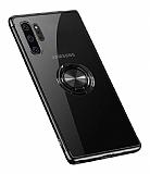 Eiroo Clear Ring Samsung Galaxy Note 10 Plus Siyah Kenarlı Silikon Kılıf