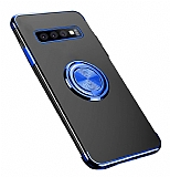 Eiroo Clear Ring Samsung Galaxy S10 Lacivert Kenarlı Silikon Kılıf