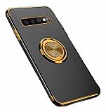 Eiroo Clear Ring Samsung Galaxy S10 Gold Kenarlı Silikon Kılıf