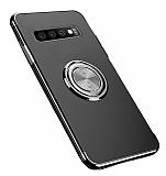 Eiroo Clear Ring Samsung Galaxy S10 Plus Siyah Kenarlı Silikon Kılıf