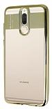 Eiroo Clear Thin Huawei Mate 10 Lite Gold Kenarlı Şeffaf Silikon Kılıf