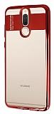 Eiroo Clear Thin Huawei Mate 10 Lite Kırmızı Kenarlı Şeffaf Silikon Kılıf