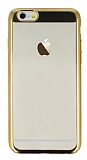 Eiroo Clear Thin iPhone 6 Plus / 6S Plus Gold Kenarlı Şeffaf Rubber Kılıf
