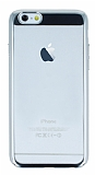 Eiroo Clear Thin iPhone 6 Plus / 6S Plus Silver Kenarlı Şeffaf Rubber Kılıf