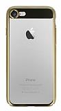 Eiroo Clear Thin iPhone 7 / 8 Gold Kenarlı Şeffaf Rubber Kılıf