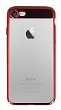 Eiroo Clear Thin iPhone 7 / 8 Kırmızı Kenarlı Şeffaf Rubber Kılıf