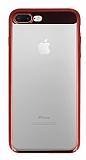 Eiroo Clear Thin iPhone 7 Plus / 8 Plus Kırmızı Kenarlı Şeffaf Rubber Kılıf