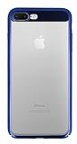 Eiroo Clear Thin iPhone 7 Plus / 8 Plus Lacivert Kenarlı Şeffaf Rubber Kılıf