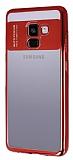 Eiroo Clear Thin Samsung Galaxy A8 Plus 2018 Kırmızı Kenarlı Şeffaf Silikon Kılıf