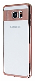 Eiroo Clear Thin Samsung Galaxy Note 5 Rose Gold Kenarlı Şeffaf Silikon Kılıf