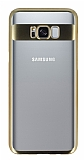 Eiroo Clear Thin Samsung Galaxy S8 Gold Kenarlı Şeffaf Rubber Kılıf