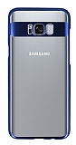 Eiroo Clear Thin Samsung Galaxy Note S8 Plus Lacivert Kenarlı Şeffaf Rubber Kılıf