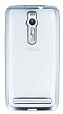 Eiroo Color Fit Asus ZenFone 2 Silver Kenarlı Şeffaf Silikon Kılıf