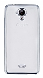 Casper Via E1 Silver Kenarlı Şeffaf Silikon Kılıf