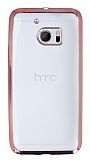 Eiroo Color Fit HTC 10 Rose Gold Kenarl� �effaf Silikon K�l�f