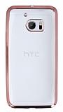 HTC 10 Rose Gold Kenarlı Şeffaf Silikon Kılıf