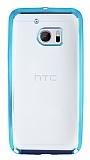 HTC 10 Mavi Kenarlı Şeffaf Silikon Kılıf