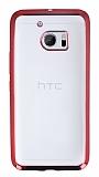 HTC 10 Kırmızı Kenarlı Şeffaf Silikon Kılıf