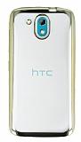 HTC Desire 526 Gold Kenarlı Şeffaf Silikon Kılıf