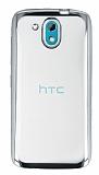 HTC Desire 526 Silver Kenarlı Şeffaf Silikon Kılıf