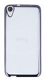 Eiroo Color Fit HTC Desire 820 Dark Silver Kenarlı Şeffaf Silikon Kılıf