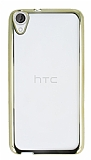 Eiroo Color Fit HTC Desire 820 Gold Kenarlı Şeffaf Silikon Kılıf