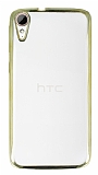 Eiroo Color Fit HTC Desire 828 Gold Kenarlı Şeffaf Silikon Kılıf