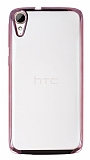 Eiroo Color Fit HTC Desire 828 Rose Gold Kenarlı Şeffaf Silikon Kılıf