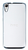 HTC Desire 828 Silver Kenarlı Şeffaf Silikon Kılıf