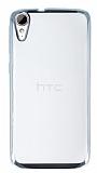 Eiroo Color Fit HTC Desire 828 Silver Kenarlı Şeffaf Silikon Kılıf