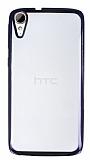 Eiroo Color Fit HTC Desire 828 Siyah Kenarlı Şeffaf Silikon Kılıf