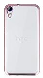 HTC Desire 830 Rose Gold Kenarlı Şeffaf Silikon Kılıf
