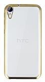 HTC Desire 830 Gold Kenarlı Şeffaf Silikon Kılıf