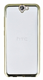 HTC One A9 Gold Kenarlı Şeffaf Silikon Kılıf
