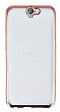 Eiroo Color Fit HTC One A9 Rose Gold Kenarlı Şeffaf Silikon Kılıf