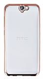 HTC One A9 Rose Gold Kenarlı Şeffaf Silikon Kılıf