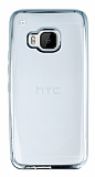 Eiroo Color Fit HTC One M9 Silver Kenarl� �effaf Silikon K�l�f