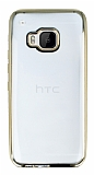 Eiroo Color Fit HTC One M9 Gold Kenarl� �effaf Silikon K�l�f